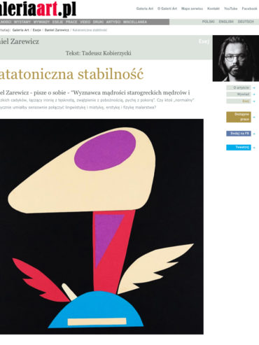 Katatoniczna stabilność – interview for Gallery ART